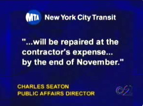 Statement by MTA public affairs director Charles Seaton stating the elevators will be repaired at the contractor's expense by the end of November